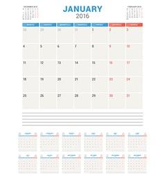 Calendar Planner 2016 Flat Design Template Set of vector
