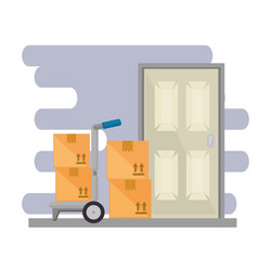 cart with boxes with door vector image