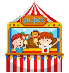 Children perform puppet show on stage vector