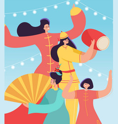 Chinese lunar new year carnival people party vector