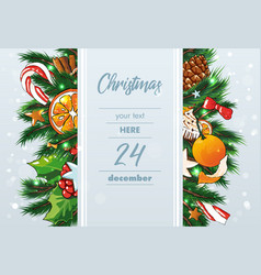christmas background with sweets and fir vector image