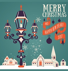 Christmas card with candle lantern vector image