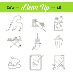 Cleaning house icons set vector image