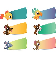 Collection of cartoon pets with banners vector