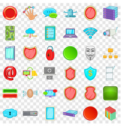 Computer database icons set cartoon style vector