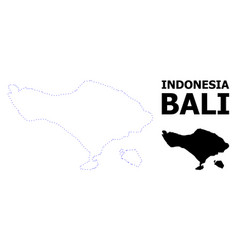 Contour dotted map bali island with vector