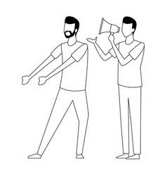 coworkers teamwork cartoon in black and white vector image