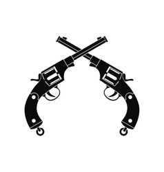 Crossed revolvers black icon vector