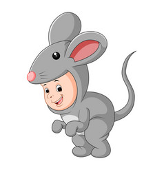 Cute baby wearing a mouse suit vector