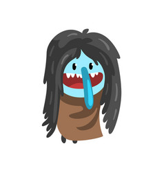 Cute cartoon hairy monster character with funny vector