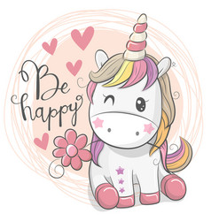 Cute cartoon unicorn with flower vector