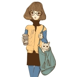 Cute girl with cat and coffee vector