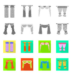 Design curtains and drapes icon set of vector
