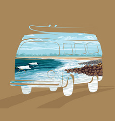 Double exposure surf trip concept summer surfing vector
