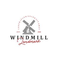 Dutch windmill logo landmark with vintage style vector
