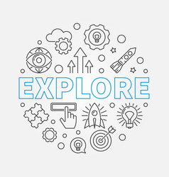 explore round in thin line vector image