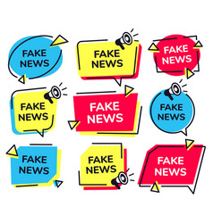 fake news label news badge with loudspeaker icon vector image