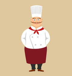 fat cute male cook chef with long mustache vector image