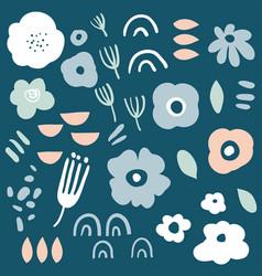 flower simple minimalistic set vector image