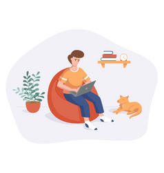 freelance man work from home comfortable space vector image