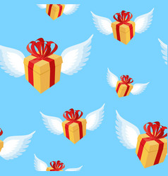 Gift with wings pattern flying gift box with red vector