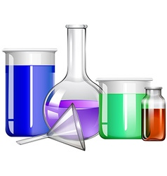 Glass containers with liquid inside vector