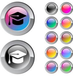 Graduation multicolor round button vector image