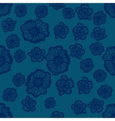 Green and dark blue seamless flower pattern vector image