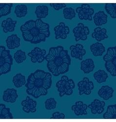 Green and dark blue seamless flower pattern vector