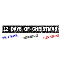 grunge 12 days of christmas textured rectangle vector image