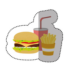 hamburger soda and fries french icon vector image