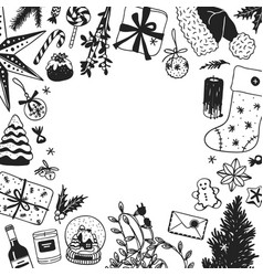 hand drawn christmas frame creative ink art work vector image