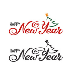 happy new year greeting in two variants hand vector image