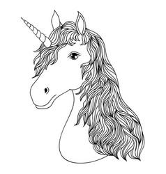 head hand drawn unicorn vector image