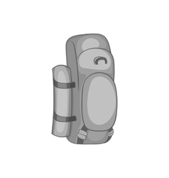 Hiking backpack icon black monochrome style vector image