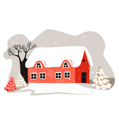 house with rooftop covered with snow winter vector image
