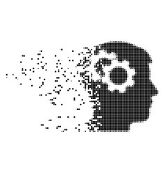 Intellect gears dissolving pixel icon vector
