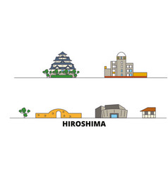 Japan hiroshima flat landmarks vector