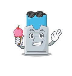 Key card mascot cartoon design with ice cream vector