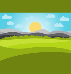 Landscape with field and mountains vector