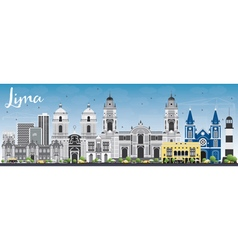 Lima Skyline with Gray Buildings and Blue Sky vector