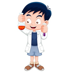 Little boy holding test tube vector image