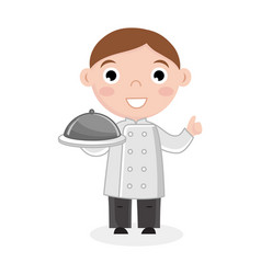 Little boy in cook uniform with dish vector