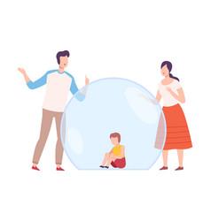 Little boy sitting inside transparent bubble vector