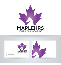 Maple leaf horse logo design vector