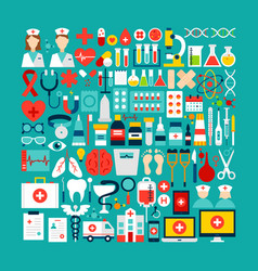medical and healthcare objects set vector image