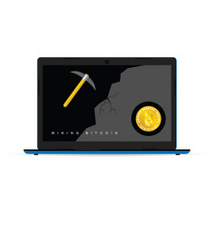 mining bitcoin icon on laptop vector image
