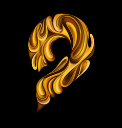number 9 in golden style vector image