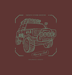 Off-road car emblem in line art style vector