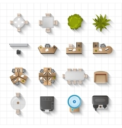 Office Interior Icons Top View vector